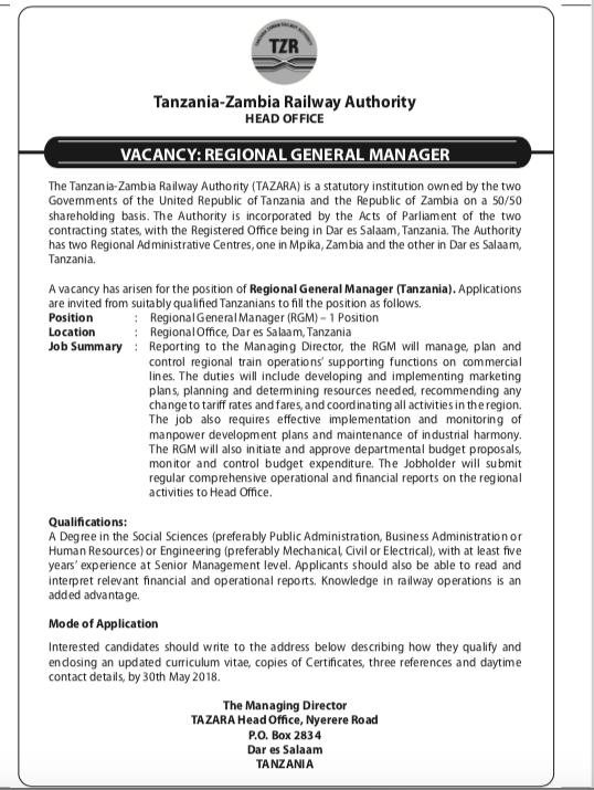 Vacancy Announcement Tazara