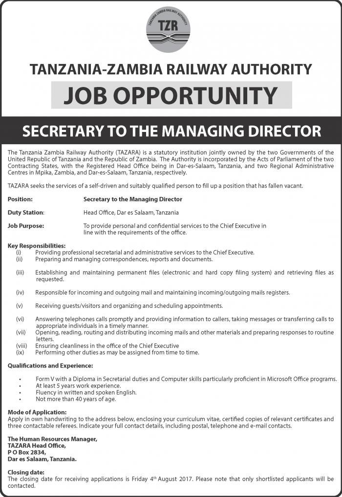 Vacancy Announcement Secretary To The Managing Director  Tazara